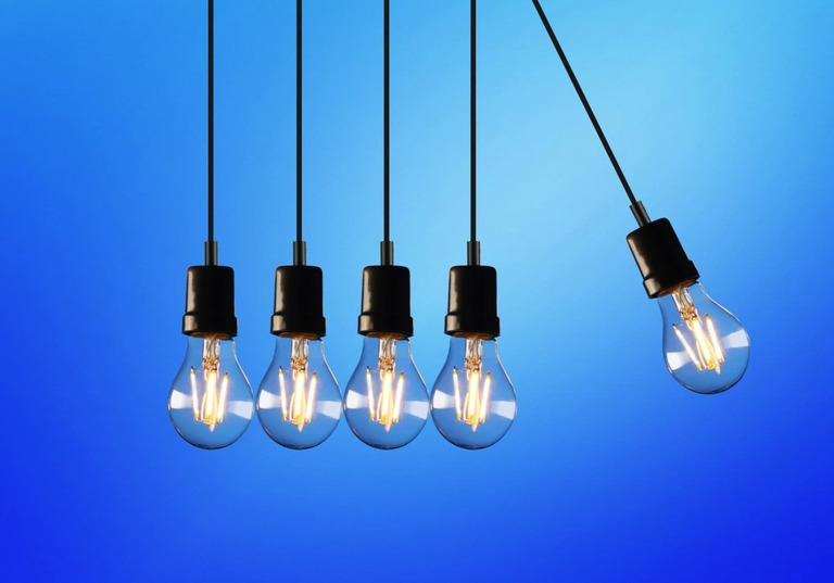 Five electric light bulbs