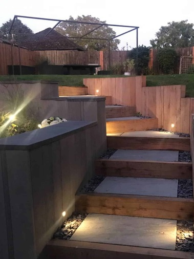 Lighting for garden steps