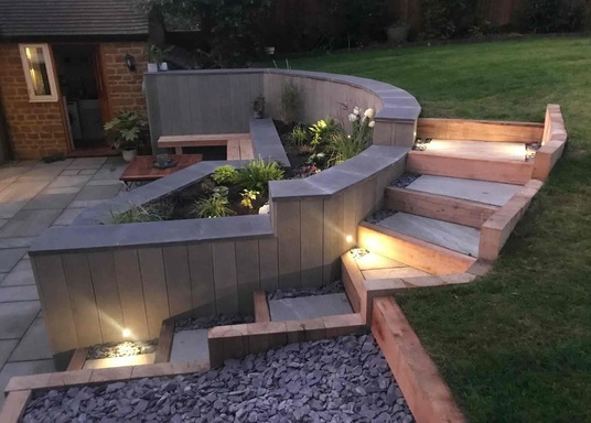 Lighting on garden steps