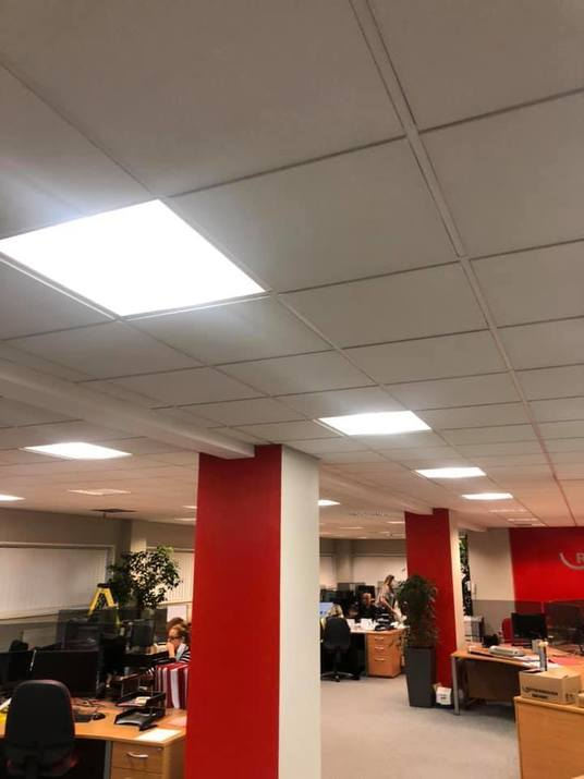lighting installation in large open plan office