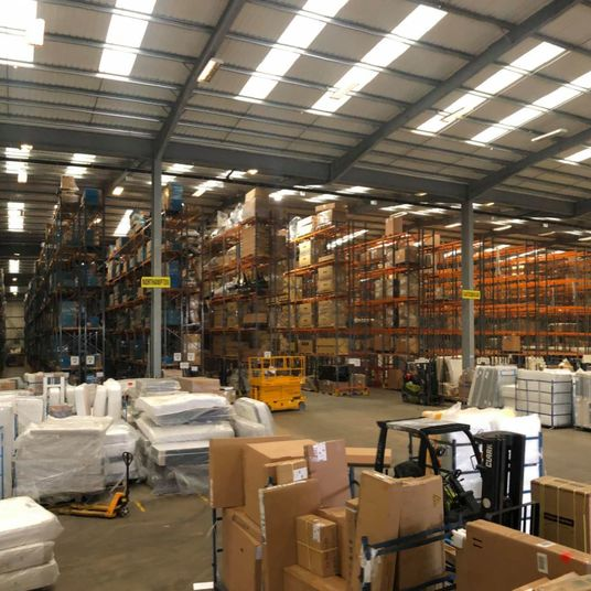 warehouse with new high bay lighting